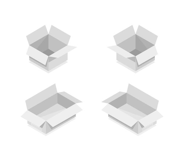 Collezione di scatole isometriche Vettore Premium