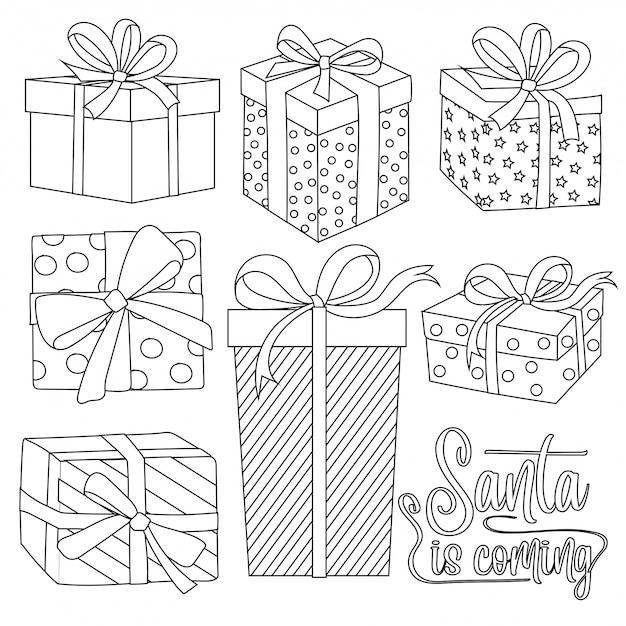 Collezione di scatole regalo di natale per la colorazione Vettore Premium