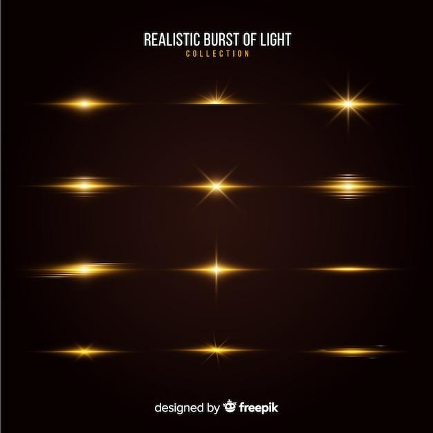 Collezione di scoppi di luce realistici Vettore gratuito