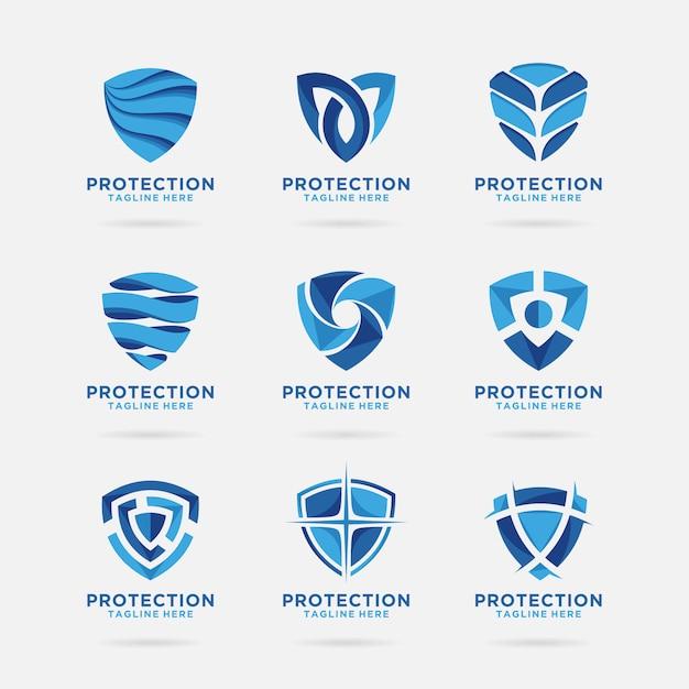 Collezione di scudo logo con disegno astratto Vettore Premium