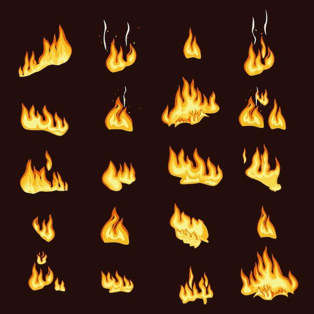 Collezione di segni di fiamma di fuoco Vettore Premium