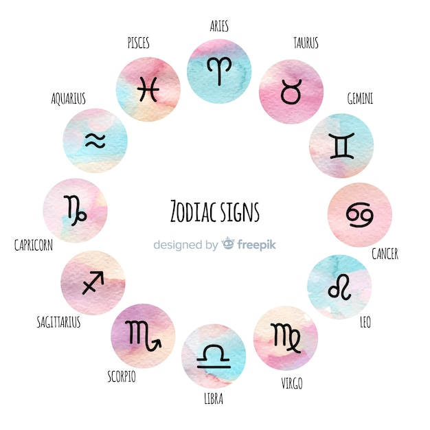 Collezione di segni zodiacali stile acquerello Vettore gratuito