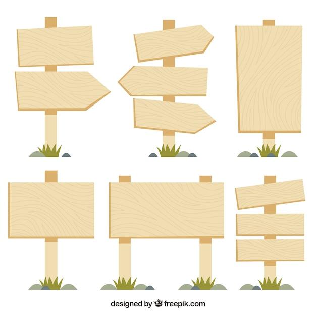 Collezione di segno di legno in design piatto Vettore gratuito