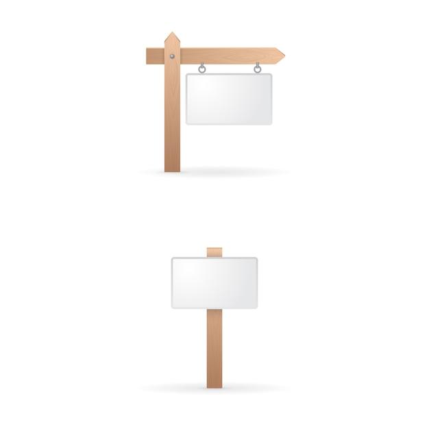 Collezione di segno in legno vuoto Vettore gratuito