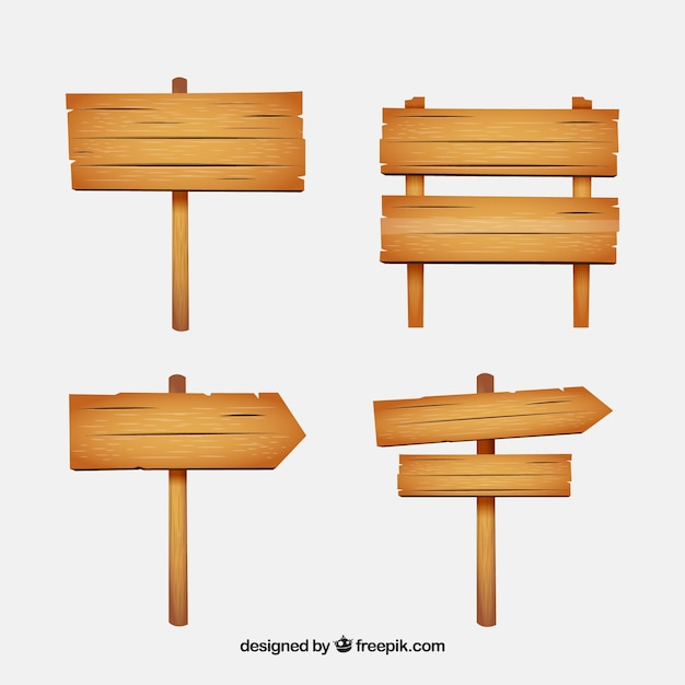 Collezione di segno in legno Vettore gratuito