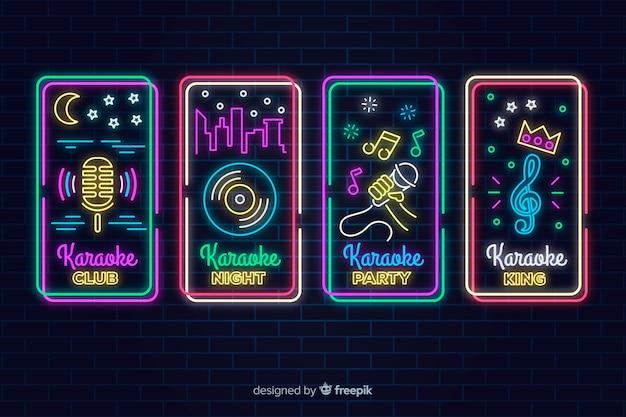 Collezione di segno karaoke luce al neon Vettore gratuito