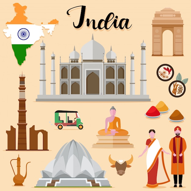 Collezione di set da viaggio india turistica Vettore Premium
