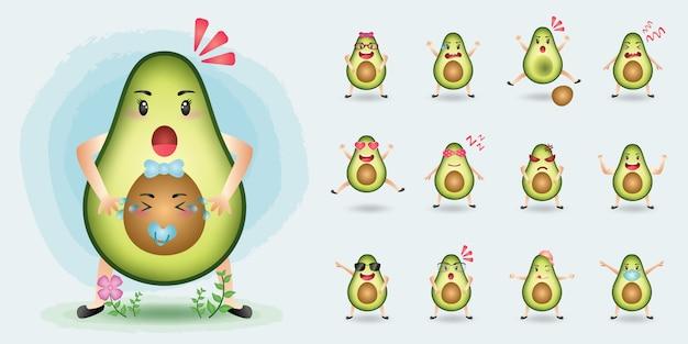 Collezione di set di caratteri avocado mascotte carino Vettore Premium