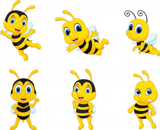 Collezione di set di cartoni animati ape Vettore Premium