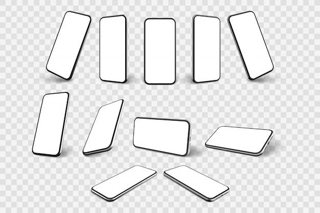 Collezione di set di smartphone realistici Vettore Premium