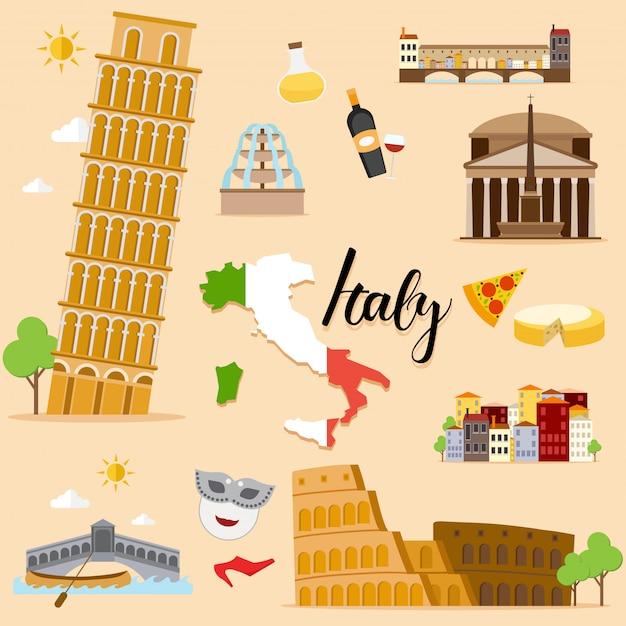 Collezione di set turistici italy travel Vettore Premium
