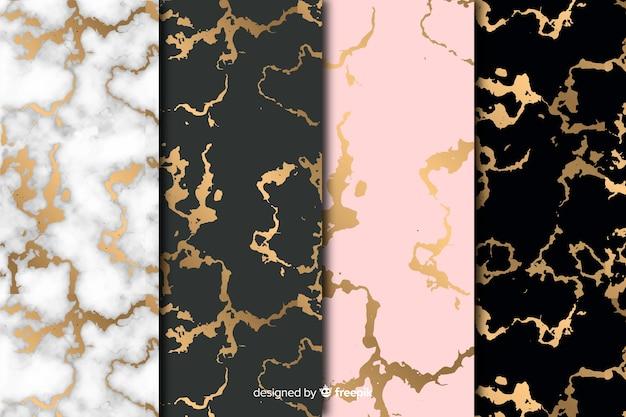 Collezione di sfondo in marmo dorato Vettore gratuito