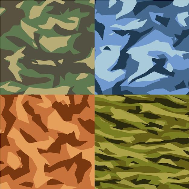 Collezione di sfondo pattern di camouflage Vettore gratuito
