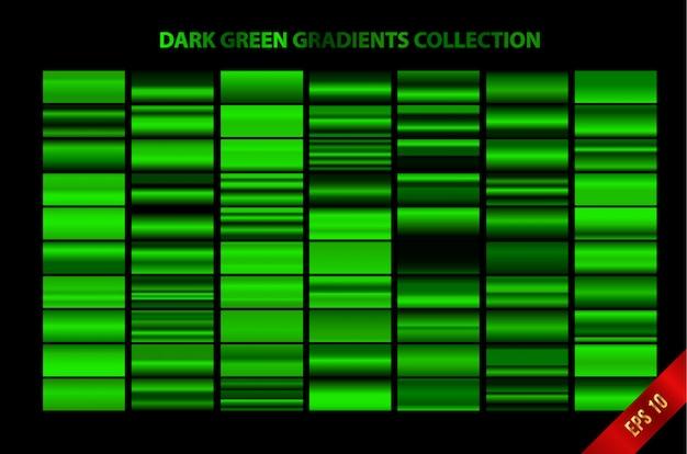 Collezione di sfumature verde scuro Vettore Premium
