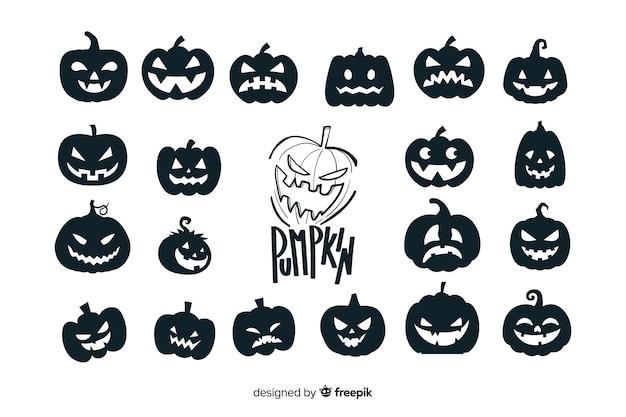 Collezione di silhouette di zucca di halloween Vettore gratuito