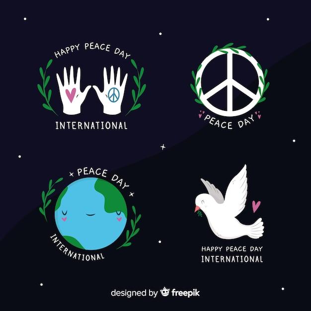 Collezione di simboli giorno della pace disegnati a mano Vettore gratuito