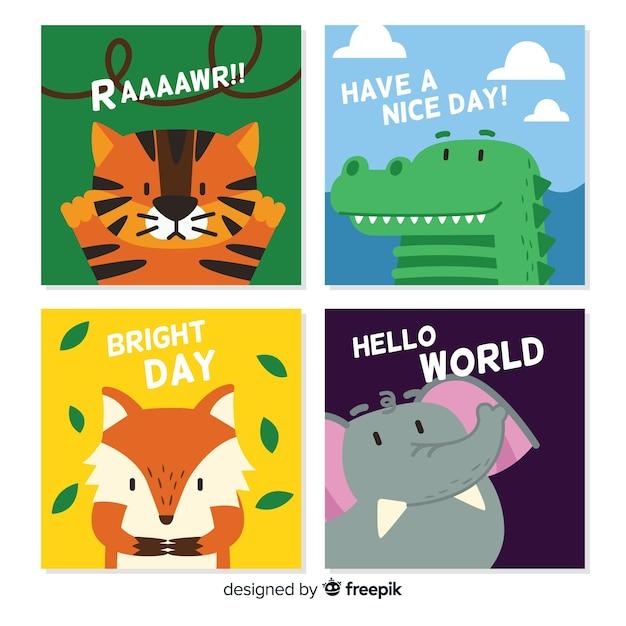 Collezione di simpatiche carte di animali selvatici Vettore gratuito