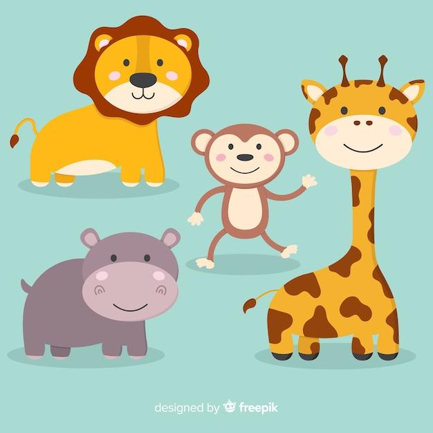 Collezione di simpatici animali dei cartoni animati Vettore gratuito