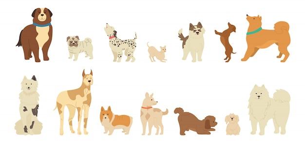 Collezione di simpatici cartoni animati di cane carattere Vettore Premium