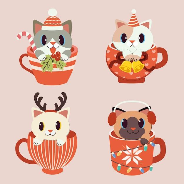 Collezione di simpatici gatti in tazza a tema natalizio set.rn, paraorecchie. il gatto nel vettore piatto. Vettore Premium