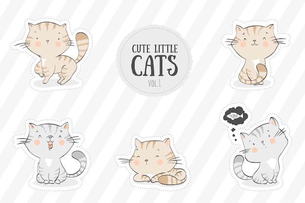 Collezione di simpatici gatti Vettore Premium