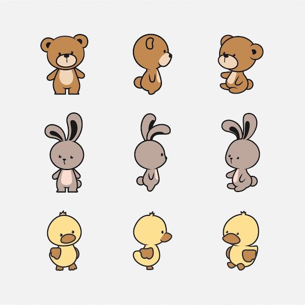 Collezione di simpatici personaggi animali Vettore Premium