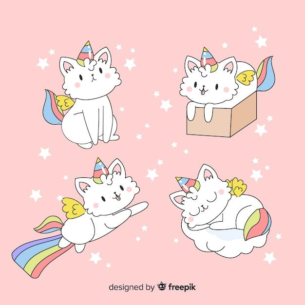 Collezione di simpatici personaggi unicorno kawaii Vettore gratuito