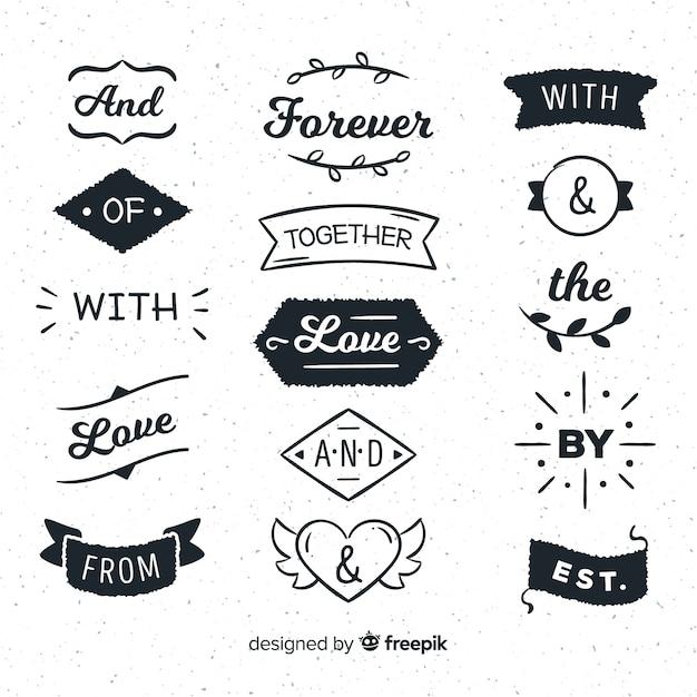 Collezione di slogan di nozze disegnati a mano Vettore gratuito