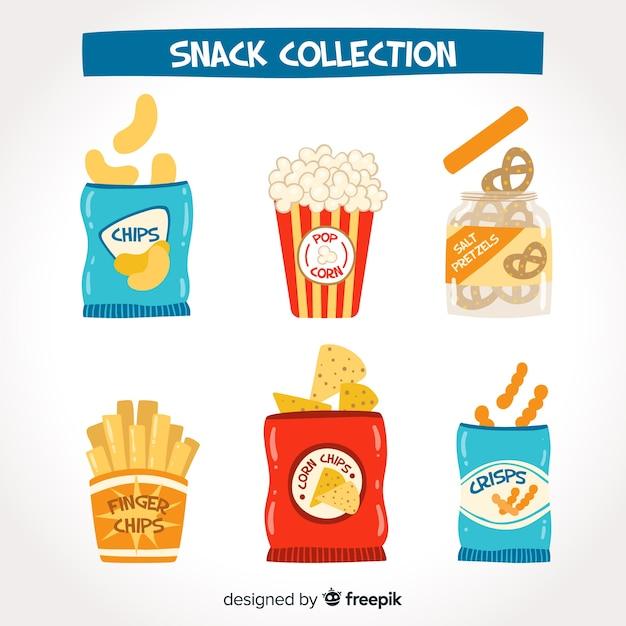 Collezione di snack colorati con design piatto Vettore gratuito