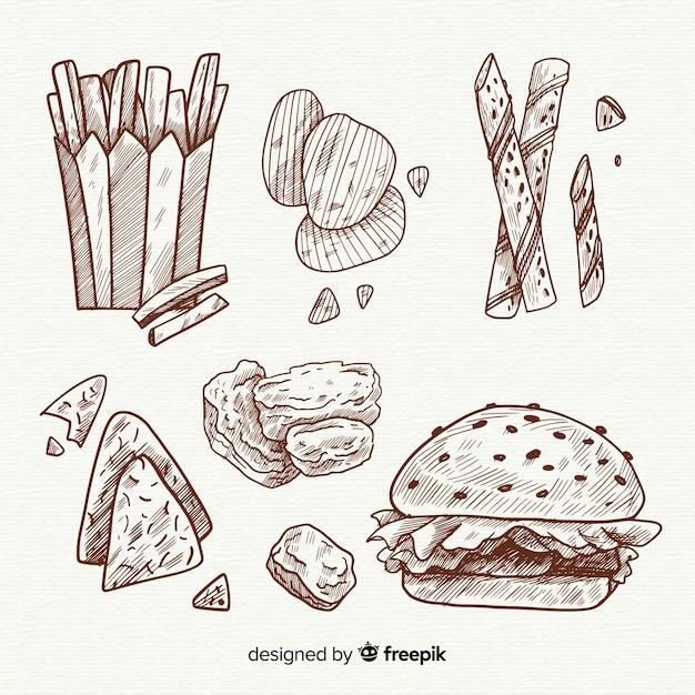 Collezione di snack disegnati a mano deliziosi Vettore gratuito
