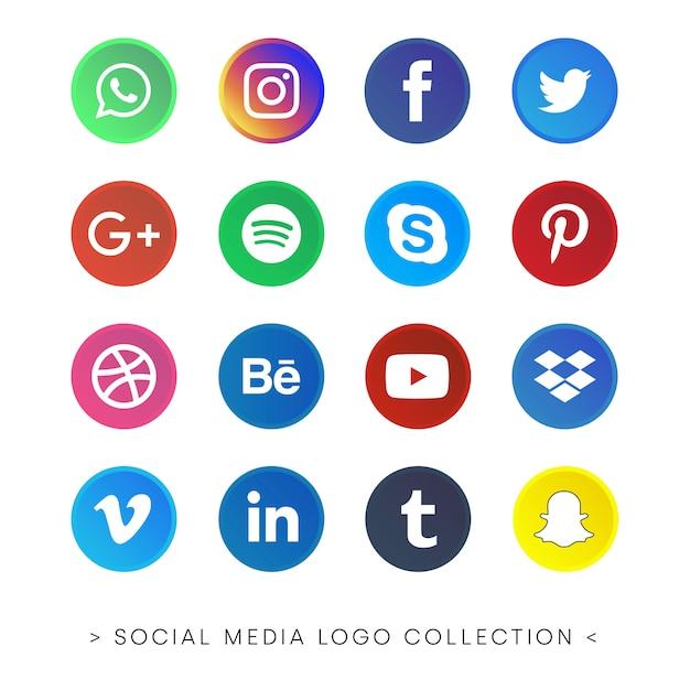Collezione di social media logo Vettore gratuito