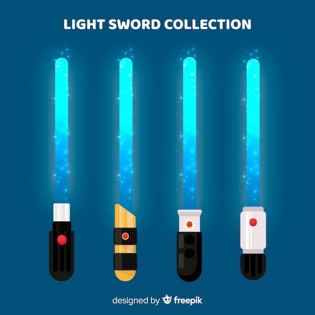Collezione di spada leggera colorata Vettore gratuito