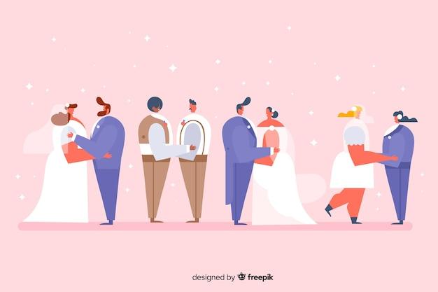 Collezione di sposi design piatto Vettore gratuito