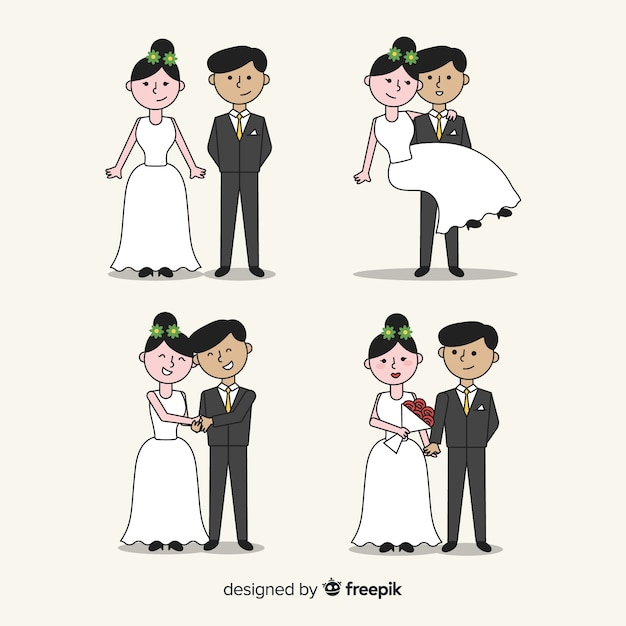 Collezione di sposi disegnati a mano Vettore gratuito