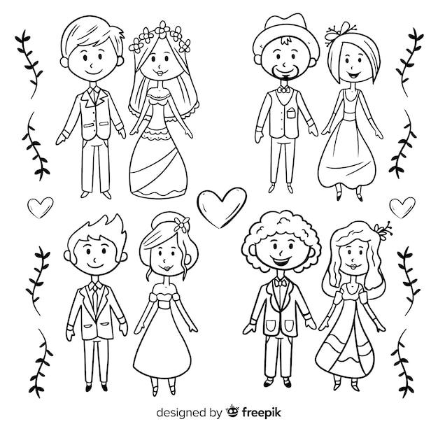 Collezione di sposi Vettore gratuito