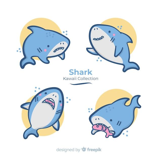 Collezione di squali disegnati a mano kawaii Vettore gratuito