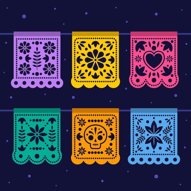 Collezione di stamina messicana in diversi colori Vettore gratuito
