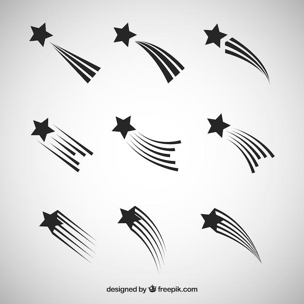 Collezione di stelle bianche e nere Vettore gratuito