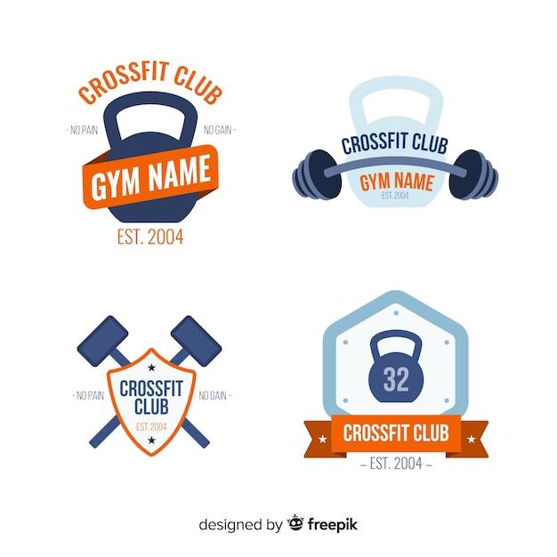 Collezione di stile piatto logo crossfit Vettore gratuito