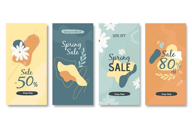 Collezione di storia instagram vendita primavera Vettore gratuito