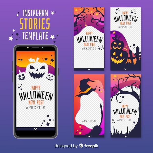 Collezione di storie di instagram di halloween Vettore gratuito