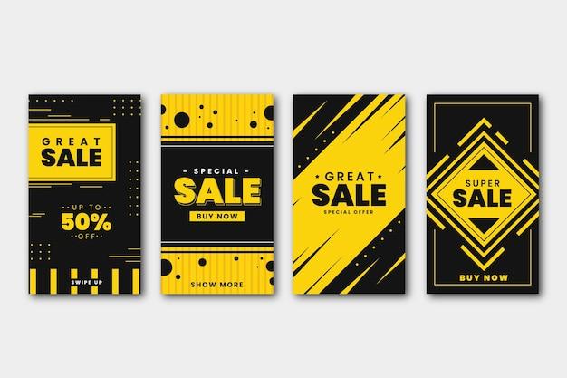 Collezione di storie di instagram di vendita Vettore gratuito