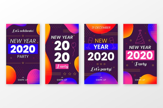 Collezione di storie di instagram per feste del nuovo anno 2020 Vettore gratuito