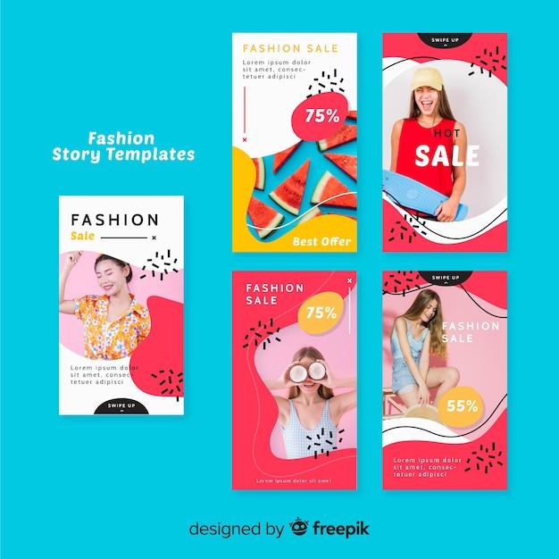 Collezione di storie di moda vendita instagram con foto Vettore gratuito
