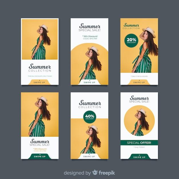 Collezione di storie di moda vendita instagram Vettore gratuito