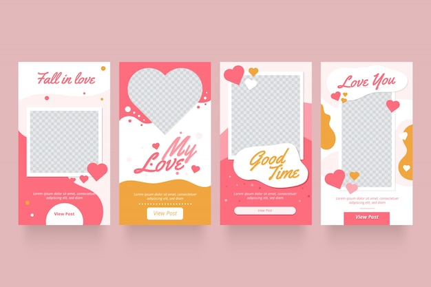 Collezione di storie di vendita di san valentino Vettore gratuito