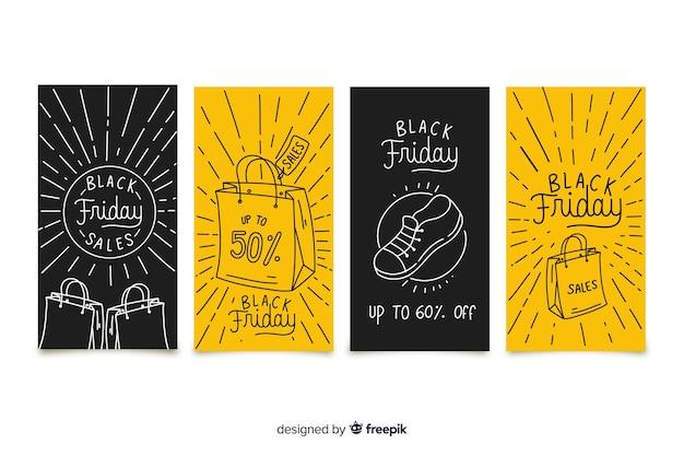 Collezione di storie instagram di black friday Vettore gratuito