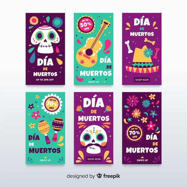 Collezione di storie instagram di dia de muertos Vettore gratuito