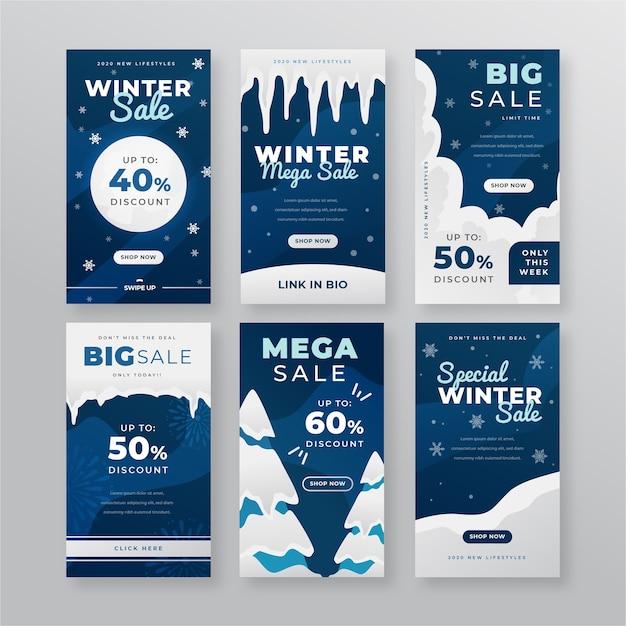 Collezione di storie instagram di saldi invernali Vettore gratuito