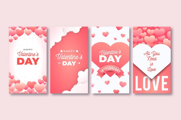 Collezione di storie instagram di san valentino Vettore gratuito